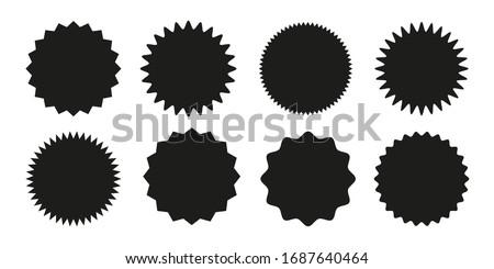 Set of vector starburst, sunburst badges. Black icons on white background. Simple flat style vintage labels, stickers. #1687640464