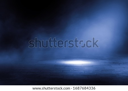 Empty background scene. Dark street reflection on wet asphalt. Rays of neon light in the dark, neon figures, smoke. Background of empty stage show. Abstract dark background. #1687684336