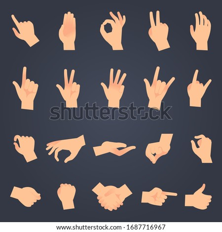 Hand position set. female or male hands holding gesture opening somethin and touching pose isolated showing different sign symbol objects