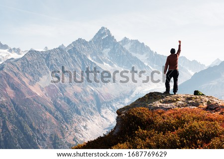 Amazing view on Monte Bianco mountains range with tourist on a foreground. Vallon de Berard Nature Preserve, Chamonix, Graian Alps. Landscape photography #1687769629