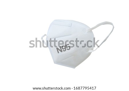 KN95 or N95 mask for protection pm 2.5 and corona virus (COVIT-19).Anti pollution mask.air face mask.KN95 or N95 mask with N95 word.n95 on white background with clipping path. #1687795417