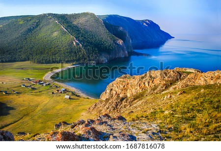 Mountain sea bay beach landscape. Blue lagoon in mountain sea bay. Mountain sea bay village. Mountain sea bay lagoon #1687816078