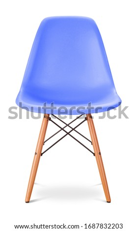 Blue, sky, dark blue, cornflower color chair, modern designer. Chair isolated on white background. Series of furniture #1687832203