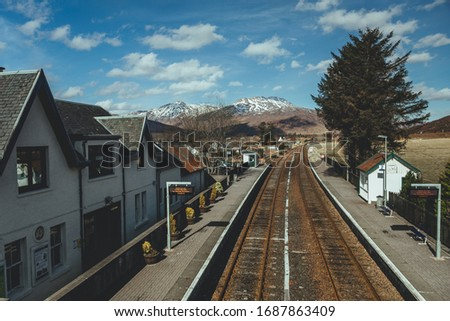 Strathcarron railway station, a remote railway station on the Kyle of Lochalsh Line, serving the small village of Strathcarron and the larger village of Lochcarron in the Highlands, Northern Scotland #1687863409