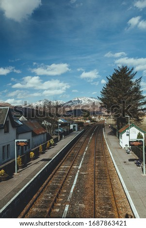Strathcarron railway station, a remote railway station on the Kyle of Lochalsh Line, serving the small village of Strathcarron and the larger village of Lochcarron in the Highlands, Northern Scotland #1687863421