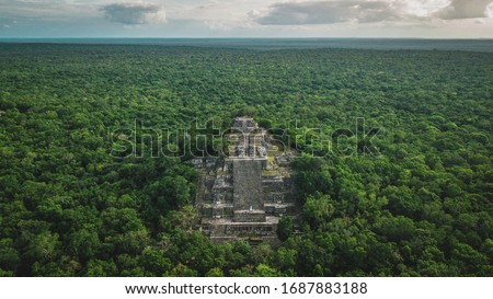 Aerial view of the pyramid, Calakmul, Campeche, Mexico. Ruins of the ancient Mayan city of Calakmul surrounded by the jungle Royalty-Free Stock Photo #1687883188