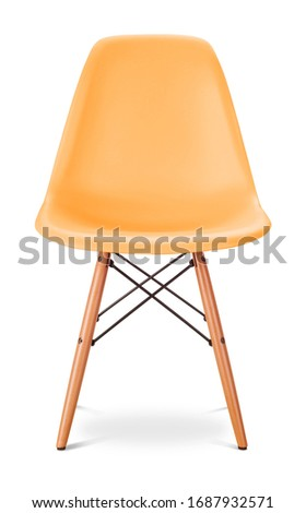 Orange yellow sunny color chair, modern designer. Chair isolated on white background. Series of furniture #1687932571