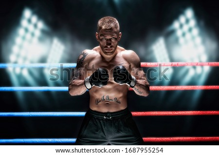 Mixed martial artist posing in the ring against spotlights. Concept of mma, ufc, thai boxing, classic boxing. Mixed media #1687955254