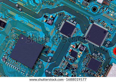 Electronic circuit board close up. #1688019577