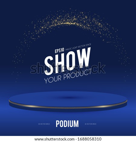 Round Podium. Scene, pedestal and 3D platform with gold glitter effect. Advertising, award and win design. Show and sale background. Realistic presentation mockup. #1688058310