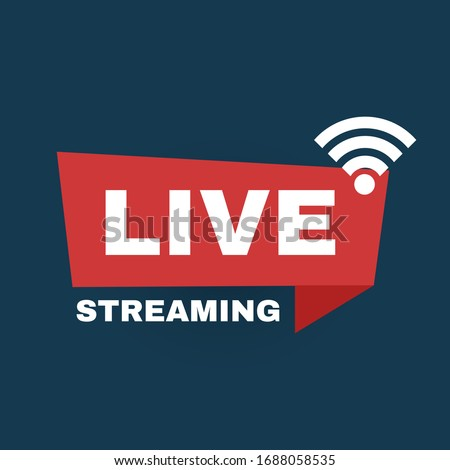Live streaming logo. Online stream sign. Flat simple design. Royalty-Free Stock Photo #1688058535