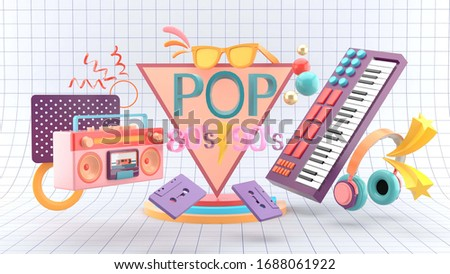 Pop music posters with pop fonts surrounded by pianos, big boom, cassette tapes and headphones on a white table background.-3d rendering.