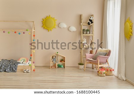 Decorative young room style with wooden house bed with stair and toy decor.