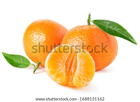 Tangerines or clementines with green leaf on white background #1688131162