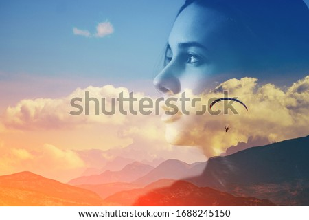 Abstract double multiply exposure head portrait of a hipster woman head face silhouette portrait outdoors on nature Parachute skydive psychology mindset power of mind, intuition mental therapy concept Royalty-Free Stock Photo #1688245150