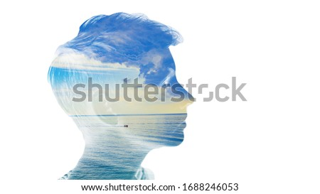 Double exposure beautiful woman head face silhouette portrait white isolated with sea water and cloud day nature. Mind psychology, stress therapy, human spirit, well mental health, life zen iq concept Royalty-Free Stock Photo #1688246053