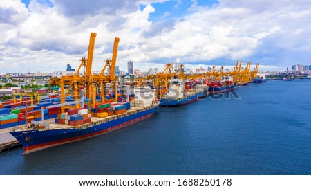 Logistics and transportation of Container Cargo ship and Cargo import/export and business logistics, Shipping , Top view ,Aerial view from drone #1688250178