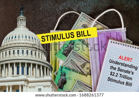 STIMULUS CHECKS Washington DC Capitol dome with Global pandemic Covid 19 lockdown Coronavirus stimulus package relief checks from government US 100 dollar bills currency #1688261377