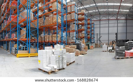 Distribution centre with high rack shelving system #168828674