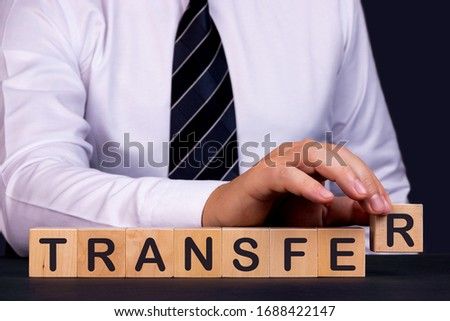 Man made word Transfer with wood blocks
