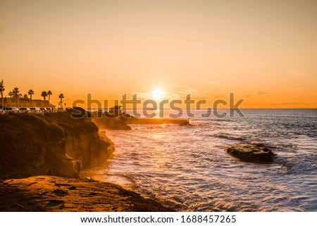 Beautiful sunset at the coast, La Jolla, San Diego, California.