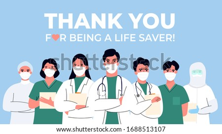 Thank you doctor and Nurses and medical personnel team for fighting the coronavirus. vector illustration #1688513107