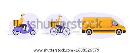 COVID-19. Quarantine in the city. Online delivery service concept, online order tracking, delivery home and office. Warehouse, truck, scooter and bicycle courier, delivery man in respiratory mask. #1688526379