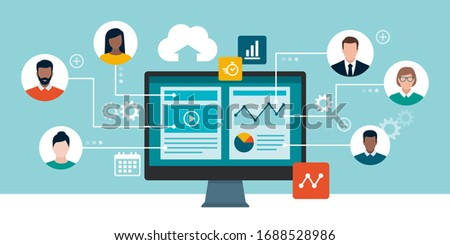 Professional business people and freelancers connecting together online and working on the same project, they are sharing and editing the same file, remote working concept Royalty-Free Stock Photo #1688528986