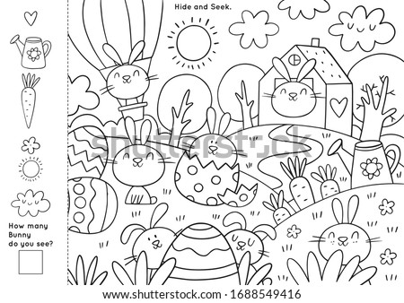 Easter Coloring Pages Printable and worksheet. Easter Activities for Kids, Easter Party, Easter Games. Royalty-Free Stock Photo #1688549416