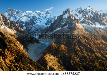 Mont Blanc massif with the Mer de Glace glacier in Chamonix, Alps, France Royalty-Free Stock Photo #1688575237