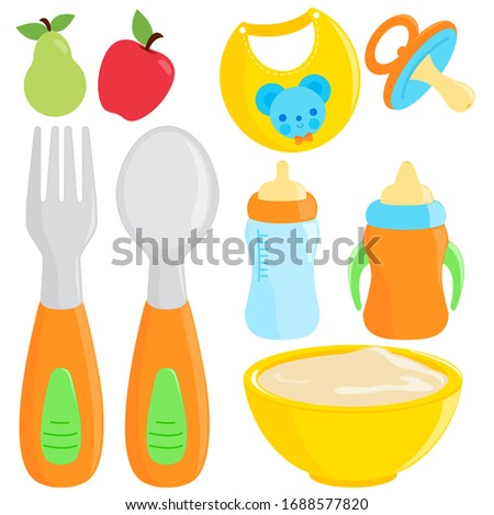 Illustration collection of fork and spoon, milk bottle, dishware, and bib for baby food.