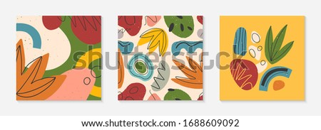 Bundle of creative universal cards and pattern.Modern vector illustrations with hand drawn organic shapes and textures.Trendy contemporary design for prints,flyers,banners,brochures,invitations,covers #1688609092
