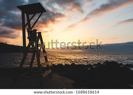 A lifeguard station during the sunset. This pic was taken in Garachico, a little village where we can find beautiful natural swimming pools made of lava.
