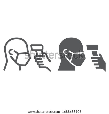 Checking body temperature line and glyph icon, coronavirus and covid 19, temperature scaning sign, vector graphics, a linear pattern on a white background, eps 10 #1688688106