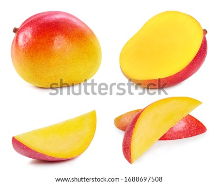 Fresh organic mango isolated on white background. Red mango fruit clipping path. Mango macro studio photo. Collection mango #1688697508