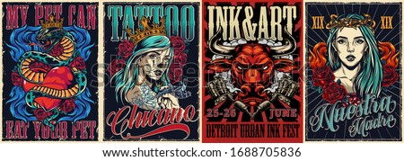 Vintage colorful tattoo conventions posters with letterings angry red bull head snake entwined about heart rose flowers tattoo machines and beautiful chicano girls vector illustration #1688705836