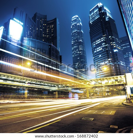 Car light trails and urban landscape in Hong Kong #168872402