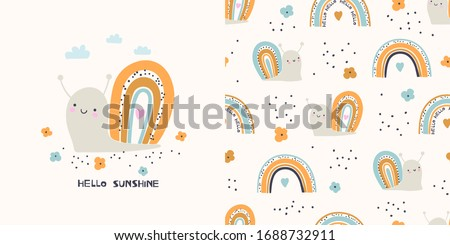Graphic set of hand drawn illustration and seamless pattern with cute snails. Cute t-shirt and textile design for kids clothing.   Royalty-Free Stock Photo #1688732911