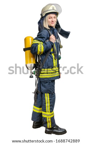 Young woman firefighter wearing uniform and helmet with Breathing Air Cylinder Assembly and Full Facepiece Respirator on her back isolated on a white background