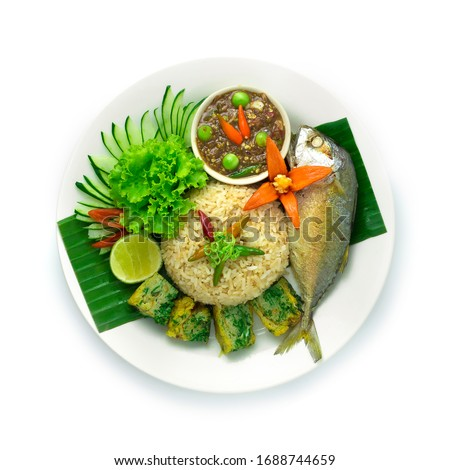 Fried Rice with Shrimps Paste Chili Served Fried Thai Mackerel Fish,Spicy Shrimp paste Sauce dip,Fried Acacia Egg,Cucumber,lime,Chili and Vegetable. Thai Food Chili Dipping Sauce Easy Meal GoodTasty #1688744659