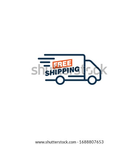 Free shipping truck icon design isolated on white background. Vector illustration