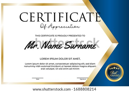 Certificate of appreciation Template diploma with border. #1688808214