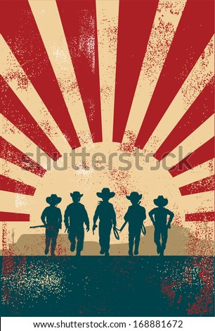 Cowboys kids background, vector