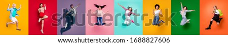 Photo collage of eight cheerful glad optimistic carefree feeling great old preteen multiethnic guy millennial people jumping high up achieving victory triumph isolated over multicolored background #1688827606