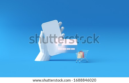 Poly hand holding smartphone and payment via credit card concept. Secure online payment transaction with smartphone. Internet banking via credit card. Protection shopping wireless pay through mobile.  Royalty-Free Stock Photo #1688846020