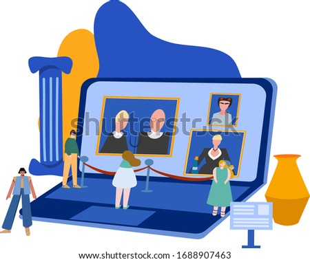 Concept for online events in museums and galleries. The online exhibition. Royalty-Free Stock Photo #1688907463