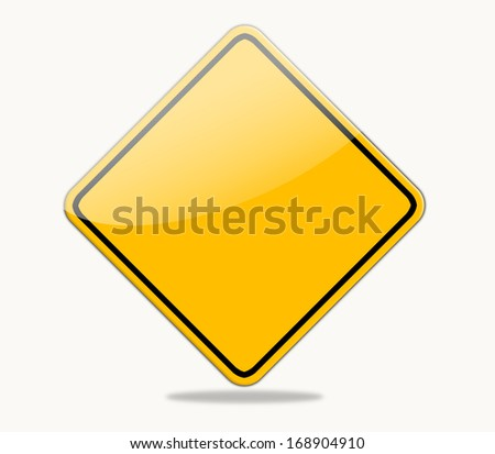 Blank Yellow Safety Sign isolated on white background. #168904910
