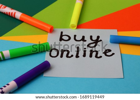 "Sticker with the inscription ""BUY ONLINE"" on a bright and colorful background #1689119449"