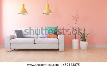 Coral minimalist living room interior with sofa on a wooden floor, decor on a large wall, white landscape in window. Home nordic interior. 3D illustration #1689143875
