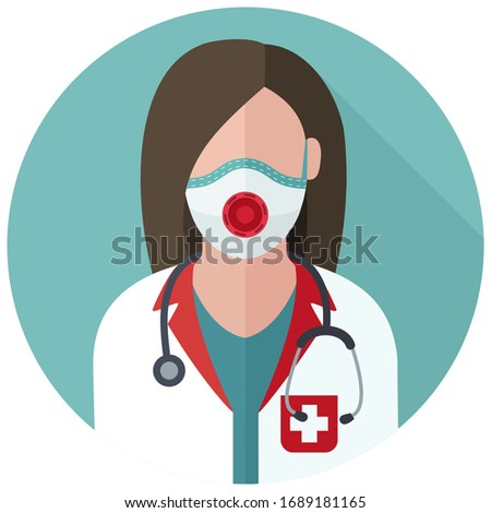 vector medical icon woman doctor. Image Doctor in mask and with stethoscope. Avatar Medic woman Illustration in a flat style.